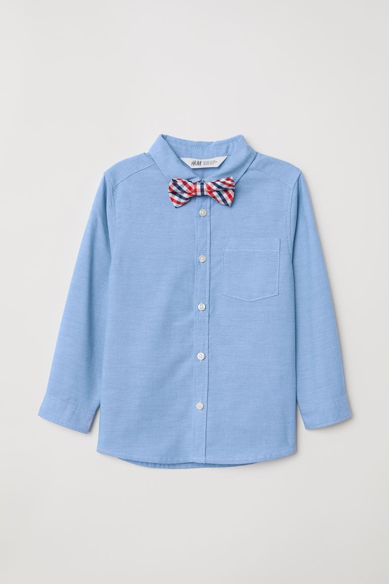 Shirt with a tie/bow tie - Light blue/Bow tie -  | H&M