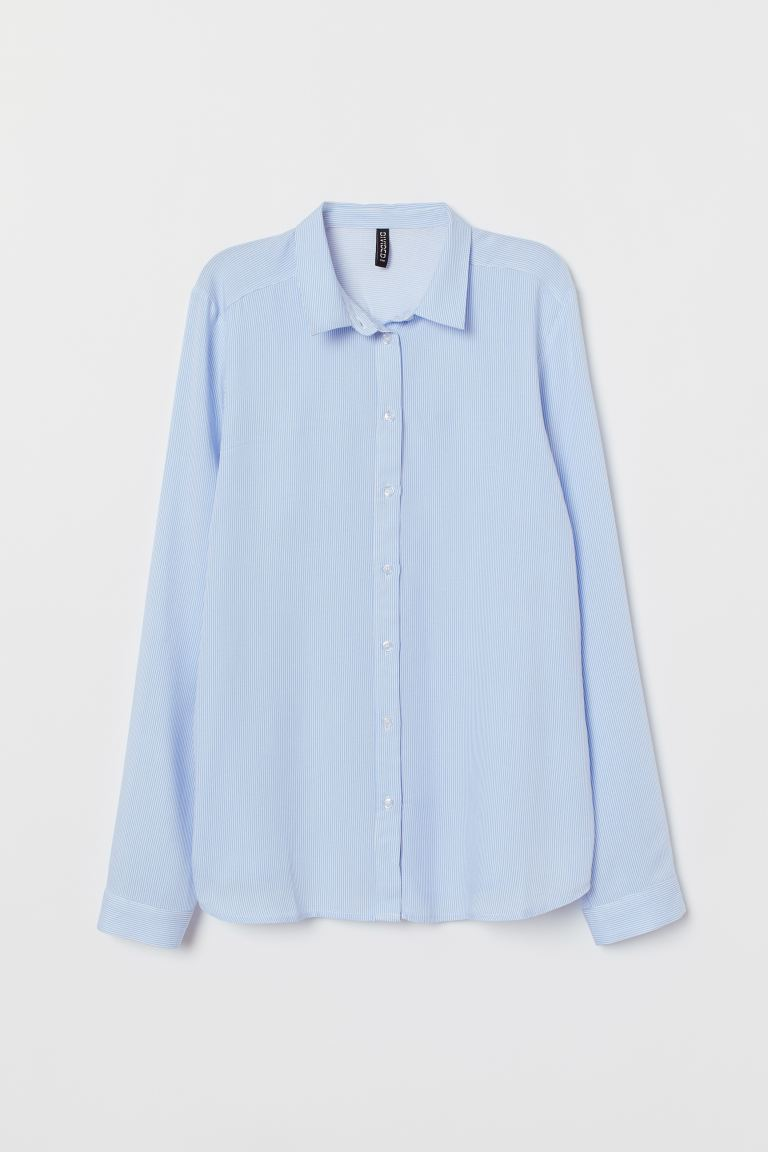 Viscose shirt - Light blue/White striped - Ladies | H&M IN
