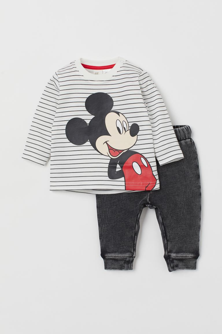 2-piece cotton set - White/Mickey Mouse - Kids | H&M GB