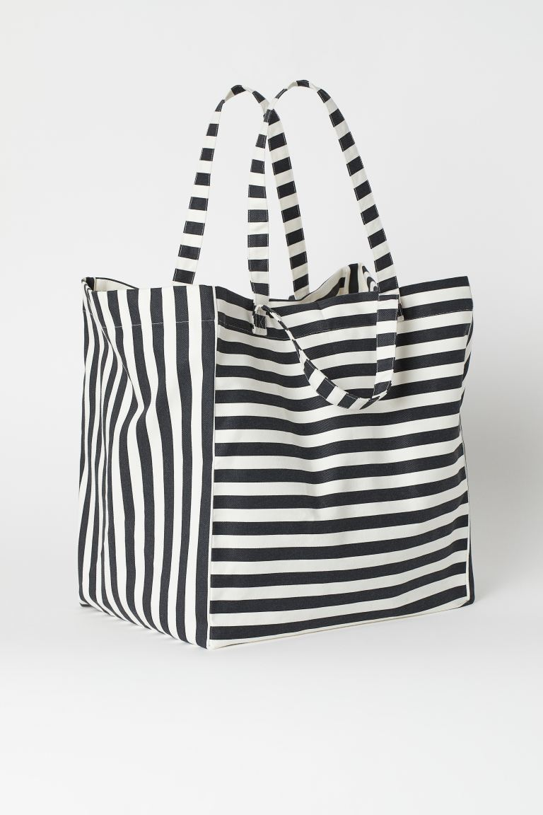 Spacious Beach Bag - Dark gray/white striped - Home All | H&M US