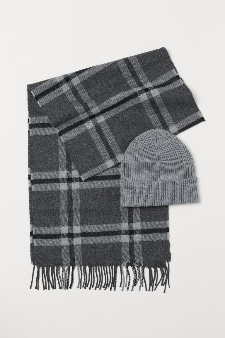 Hat and Scarf - Light gray/checked - Men | H&M US