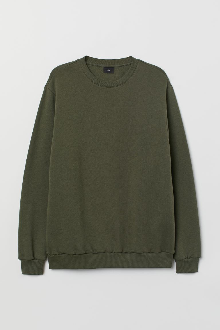 Sweater - Relaxed Fit - Donkergroen - HEREN | H&M BE