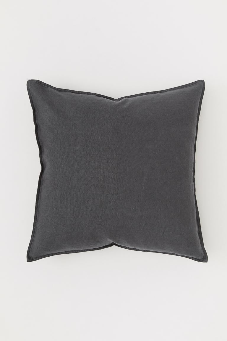 Washed Linen Cushion Cover - Charcoal gray - Home All | H&M CA