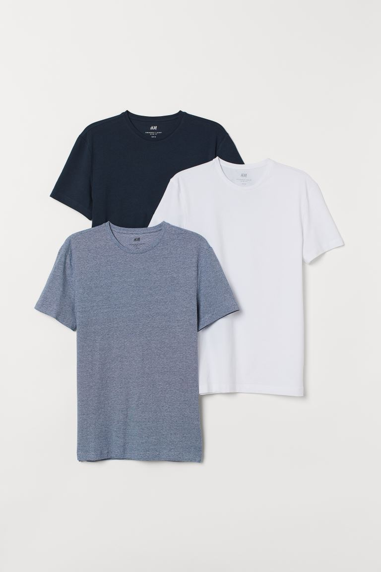 3-pack T-shirts Slim Fit - Dark blue/White - Men | H&M GB