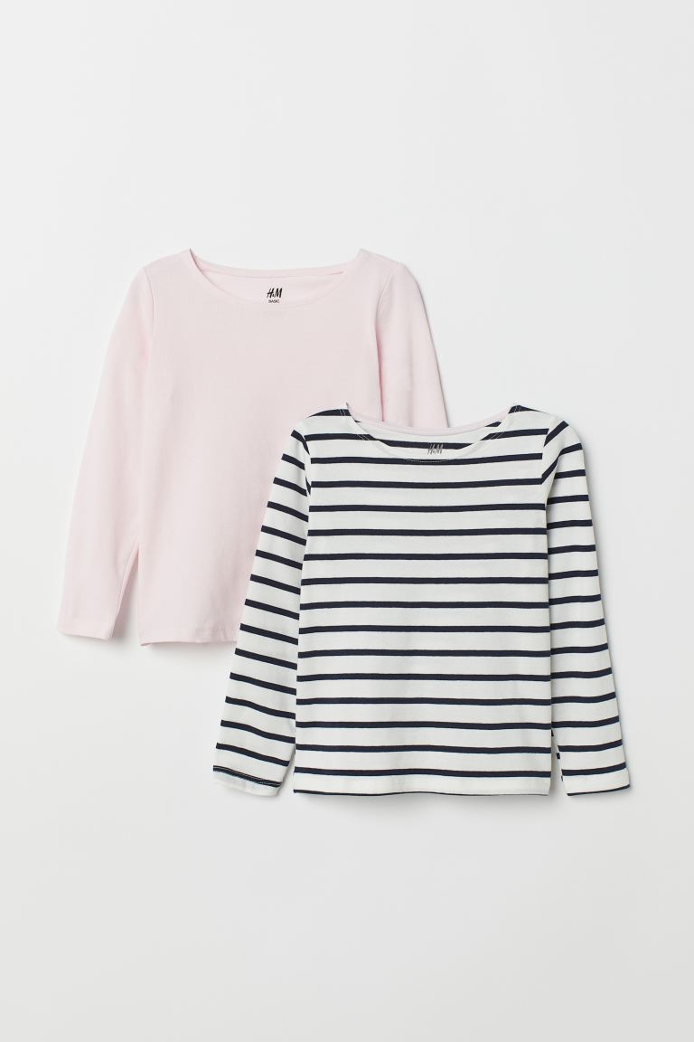 2-pack Long-sleeved Tops - Pink/striped - Kids | H&M CA