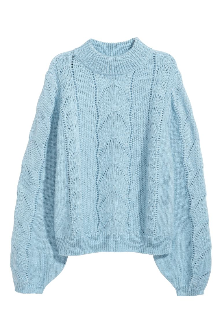 Pattern-knit jumper - Light blue - Ladies | H&M GB