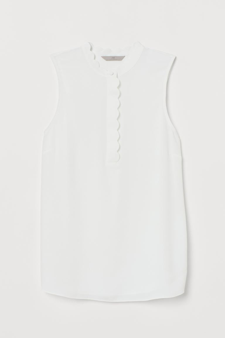 Scallop-trimmed blouse - White - Ladies | H&M
