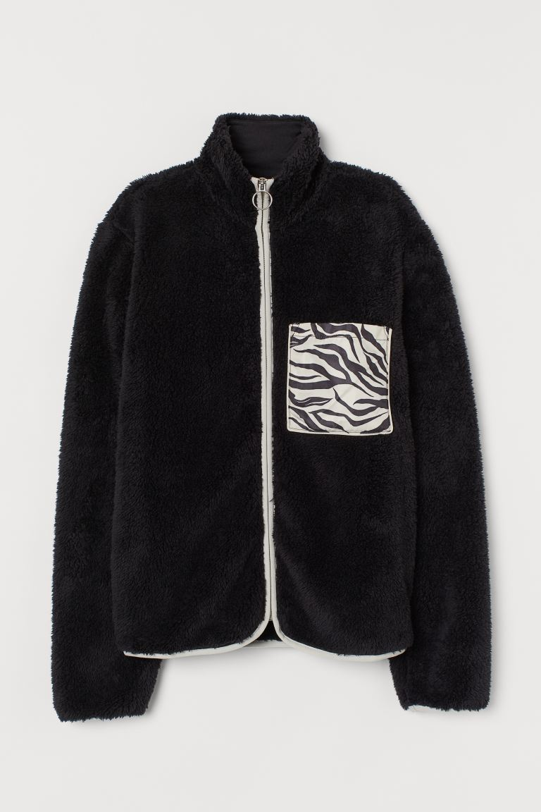 Pile jacket - Black/Zebra print - Ladies | H&M GB