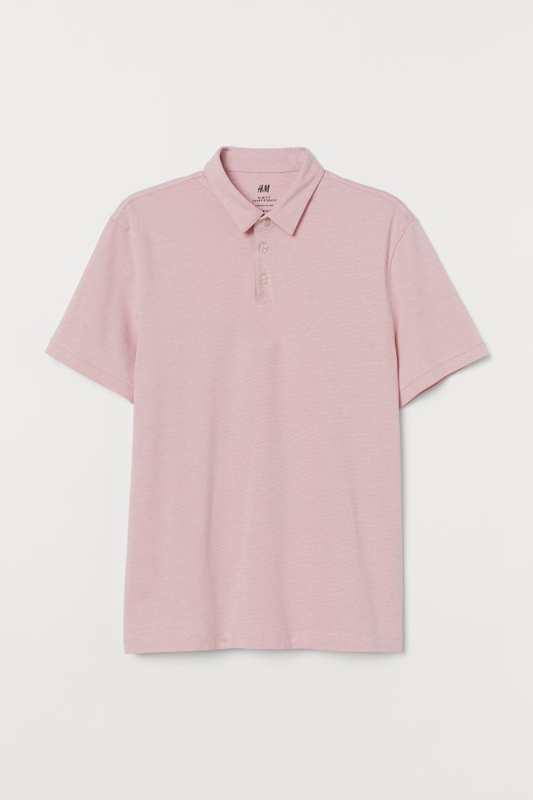 Polo Slim Fit - Rosa chiaro mélange - UOMO | H&M IT