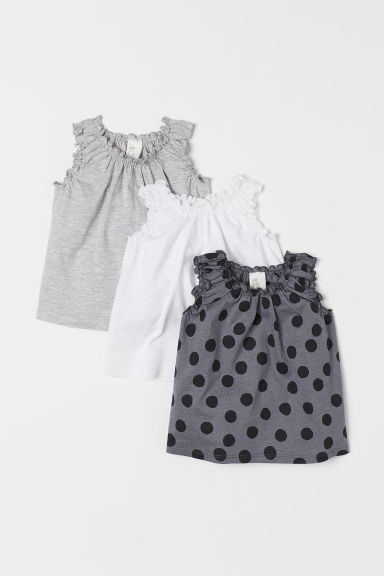 3-pack sleeveless tops - Grey/Spotted - Kids | H&M