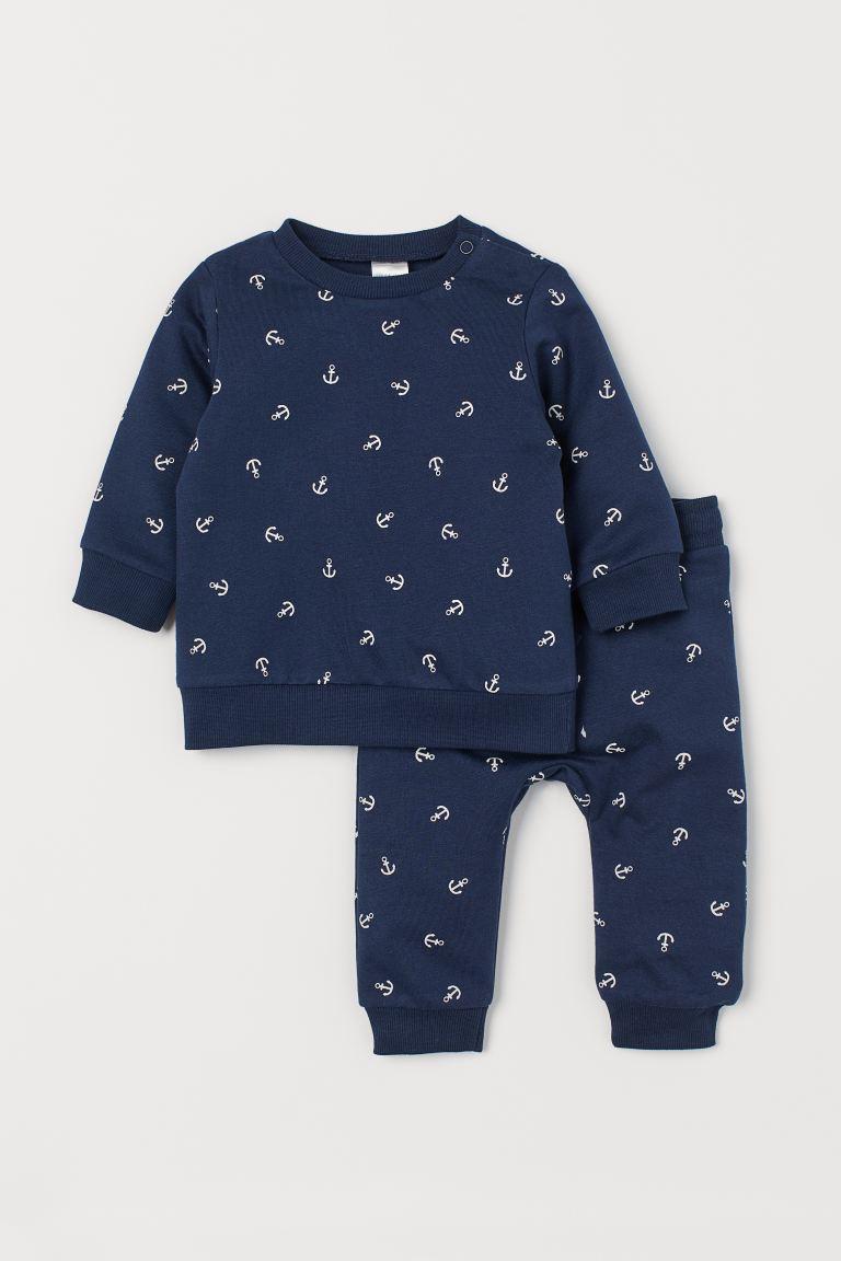 2-piece cotton set - Dark blue/Anchors - Kids | H&M GB