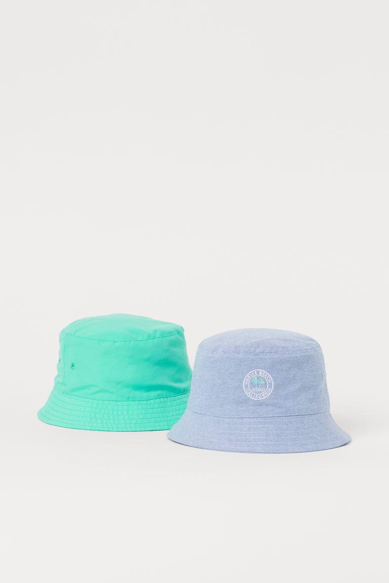2-pack sun hats - Light blue/Green - Kids | H&M GB