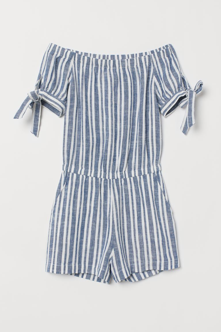 Playsuit - Blue/White striped - Ladies | H&M IE