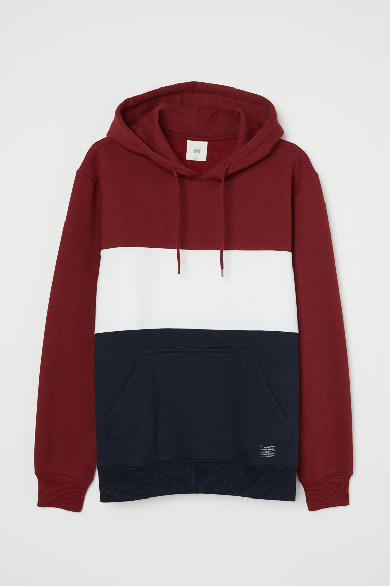 Sweat-shirt color block - Bordeaux/blanc/bleu foncé - HOMME | H&M BE