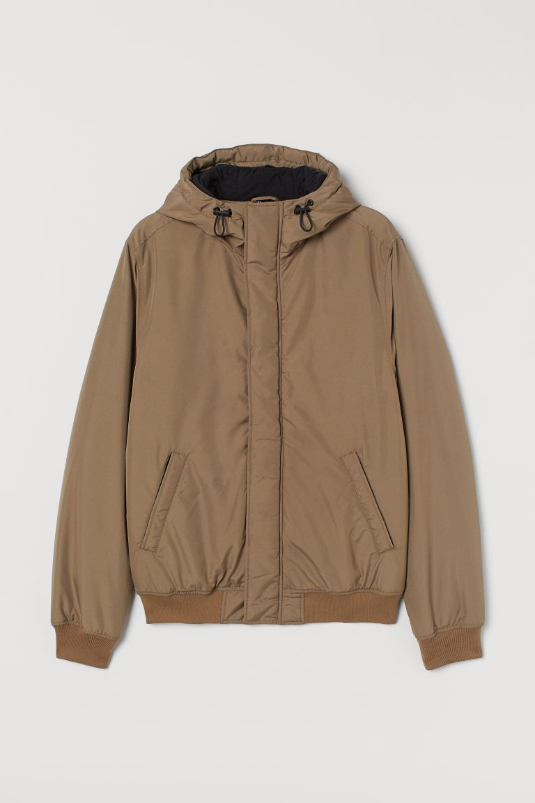 Padded hooded jacket - Greige - Men | H&M GB