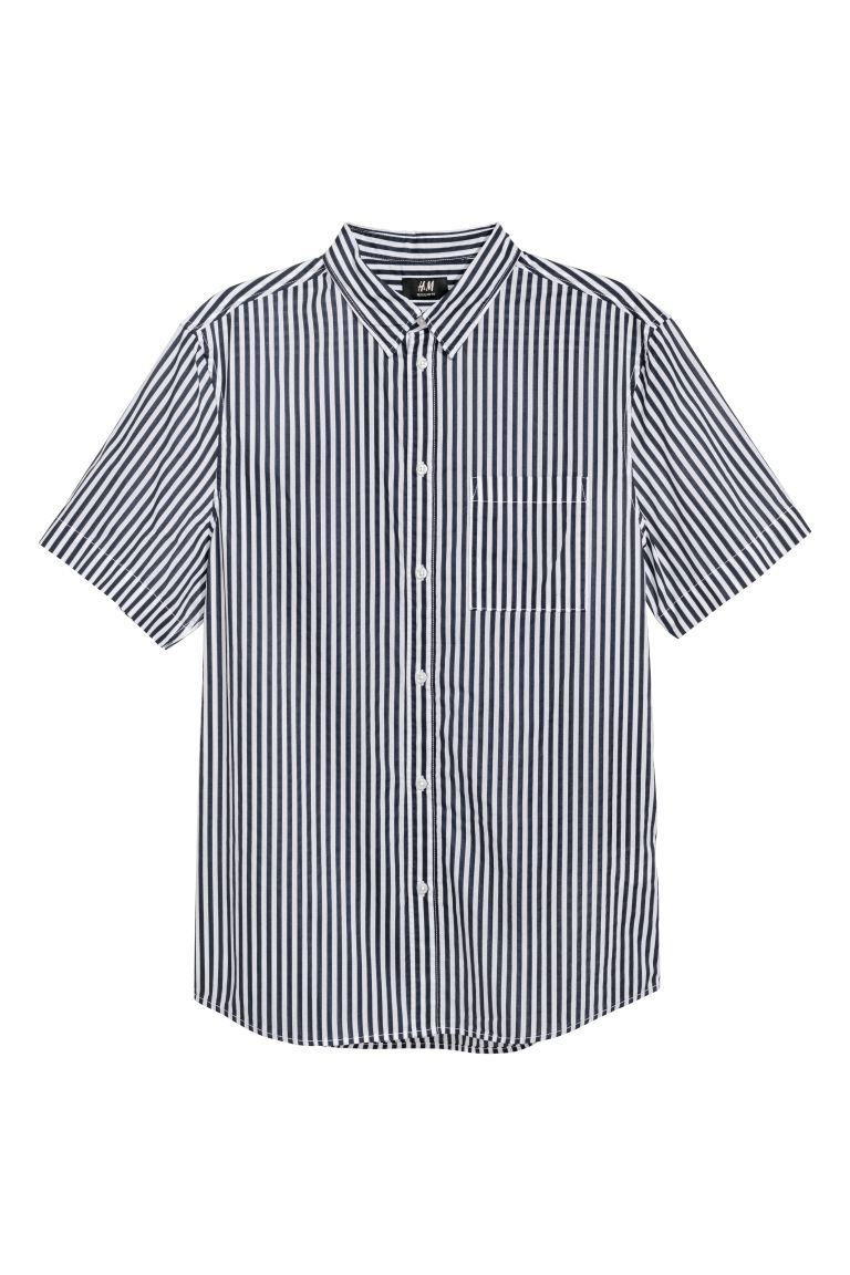 Regular Fit Cotton Shirt - Dark blue/white striped - Men | H&M US