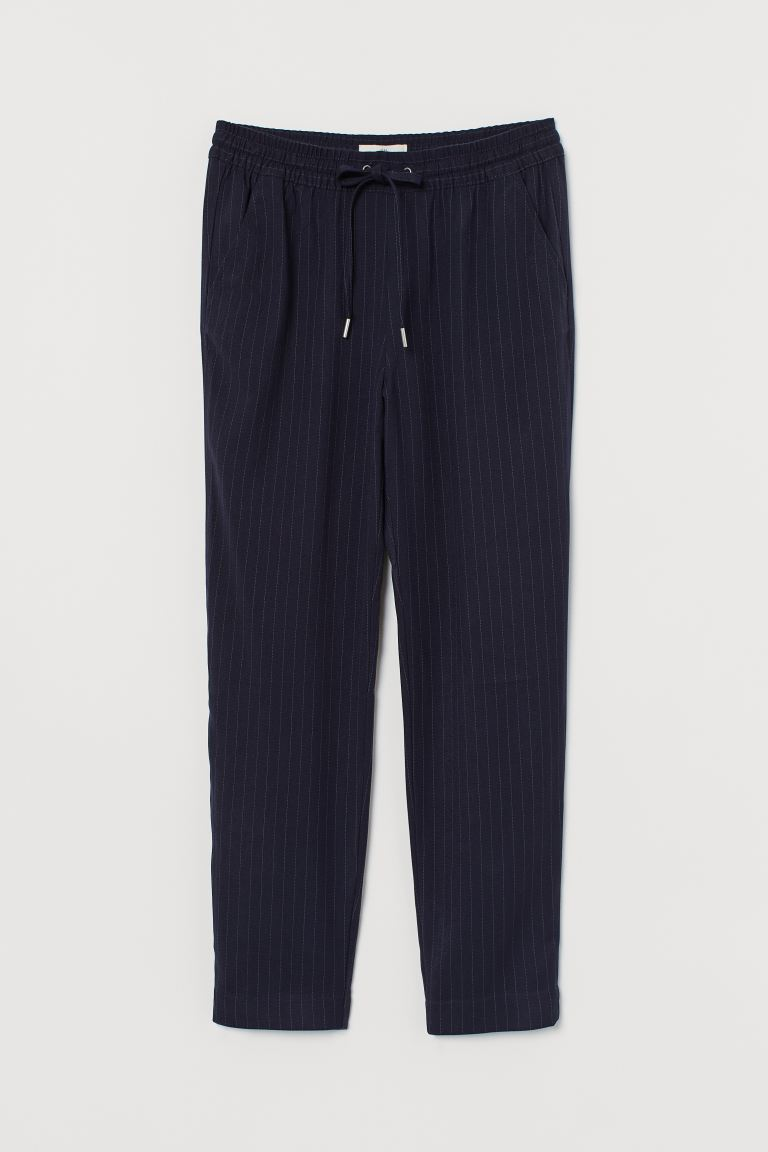 Pull-on trousers - Dark blue/Pinstriped - Ladies | H&M