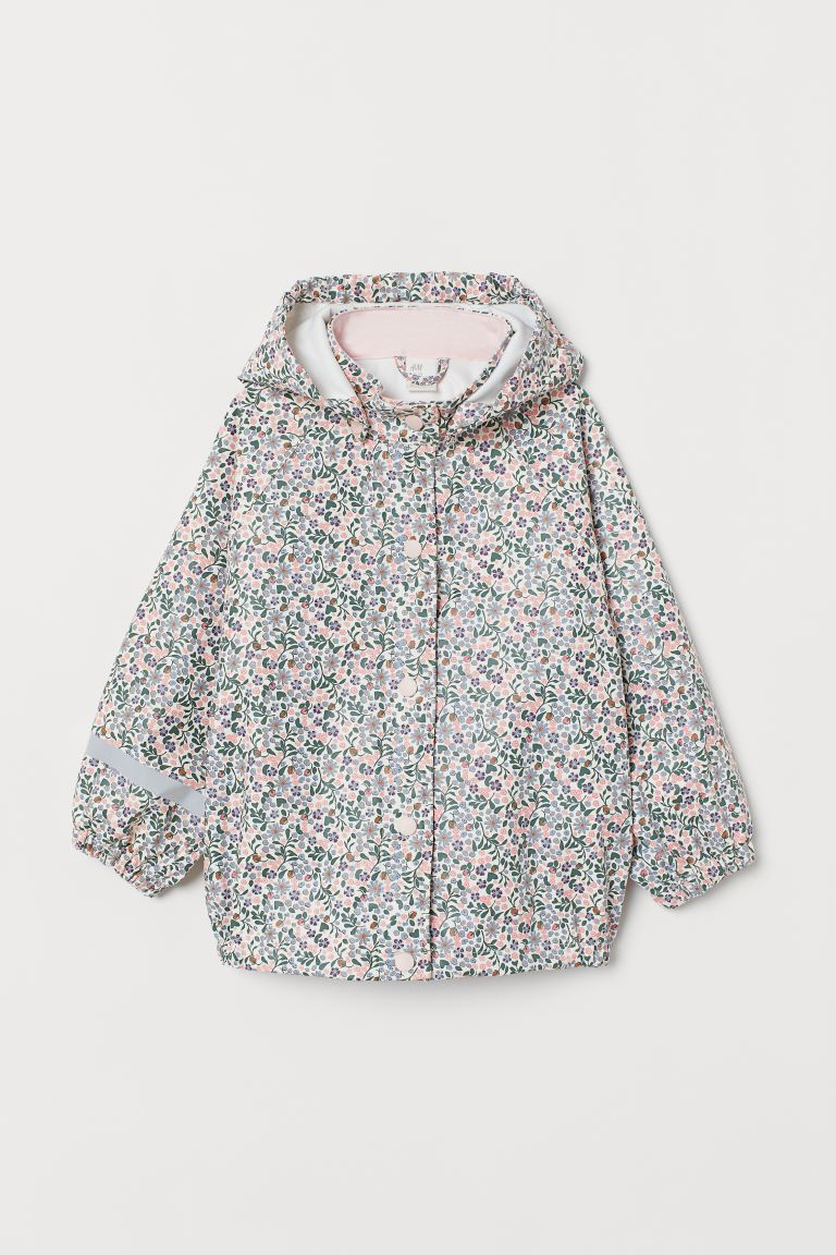 Rain Jacket - Natural white/pink floral - Kids | H&M US