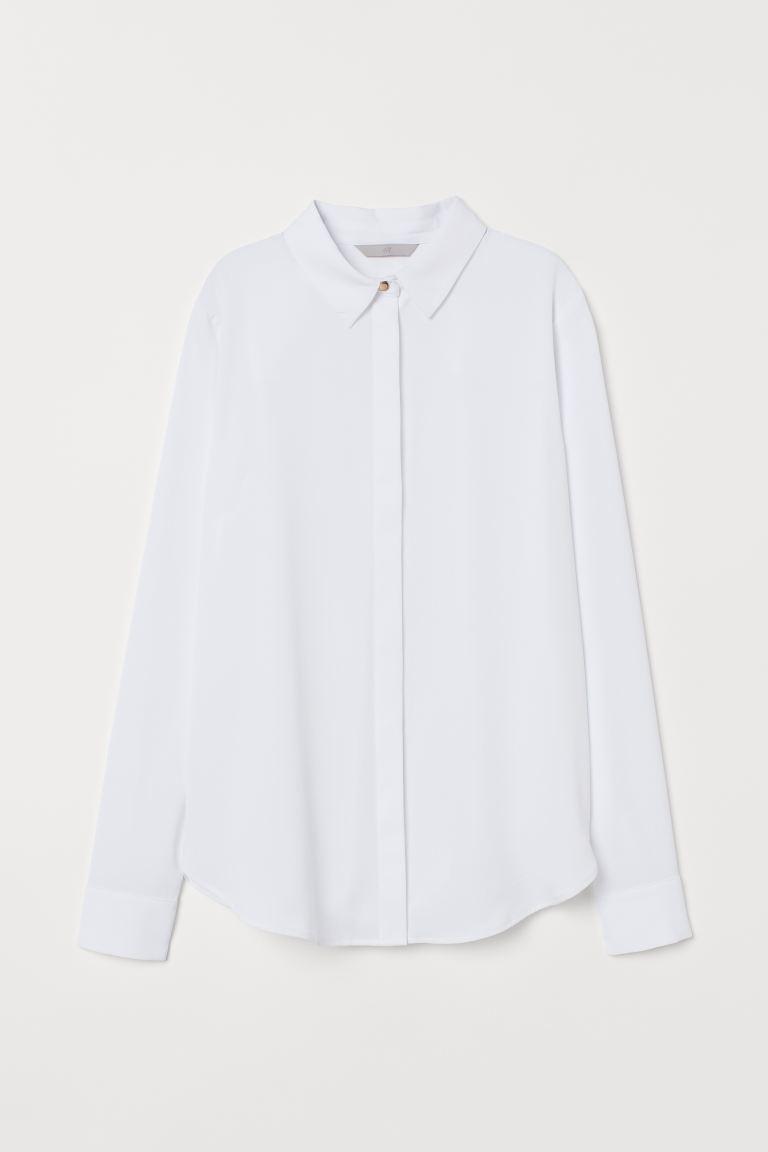 Long-sleeved blouse - White -    H&M GB