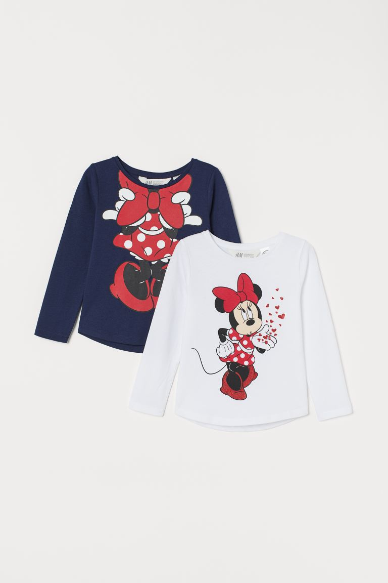 2-pack printed tops - White/Minnie Mouse - Kids | H&M GB