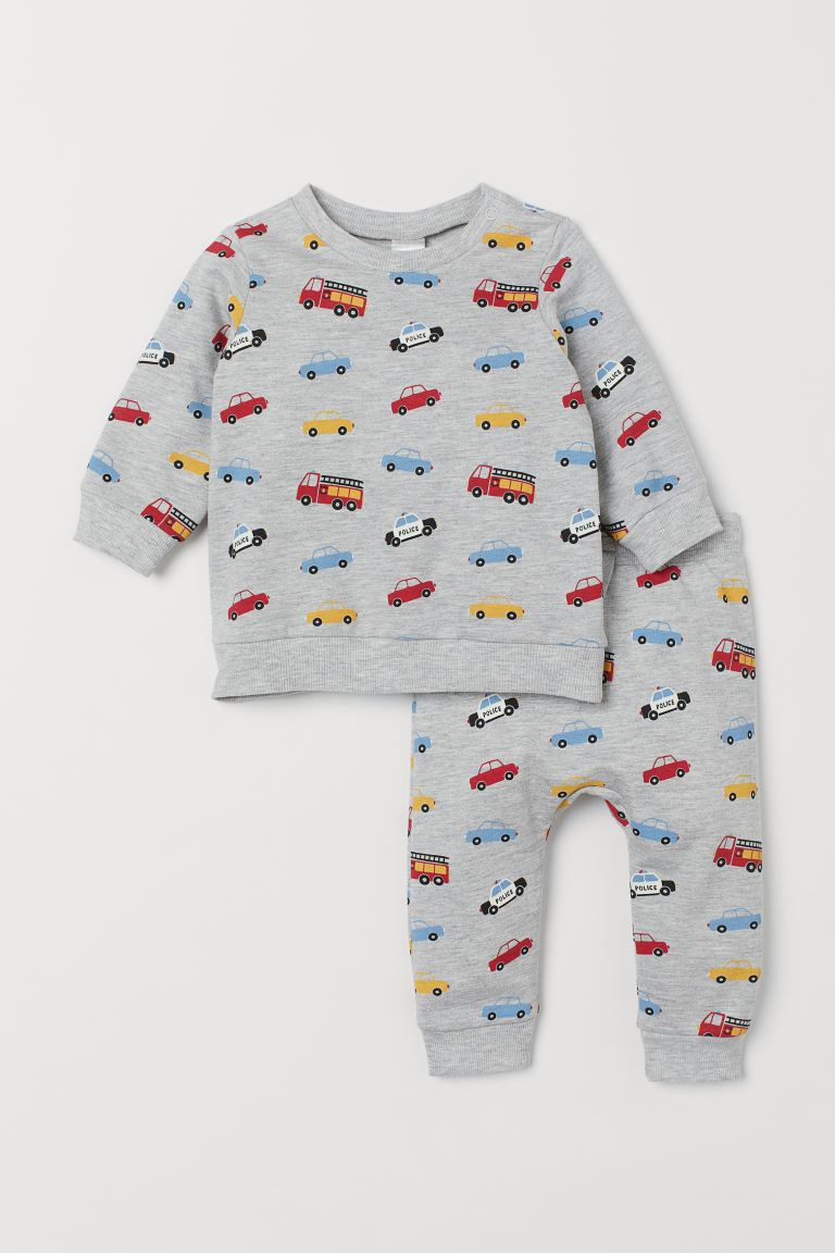 Sweatshirt and Pants - Gray melange/cars - Kids | H&M US