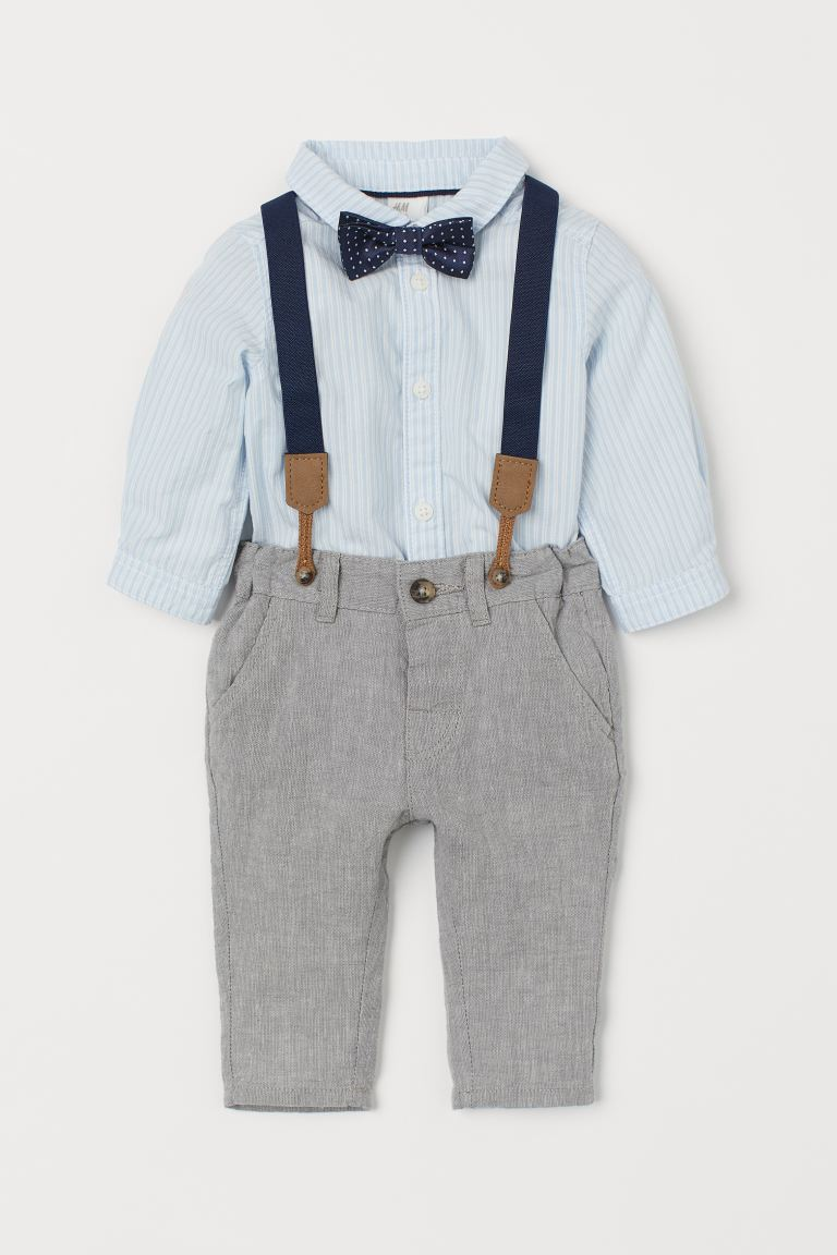 Shirt and Pants - Light blue/striped - Kids | H&M US
