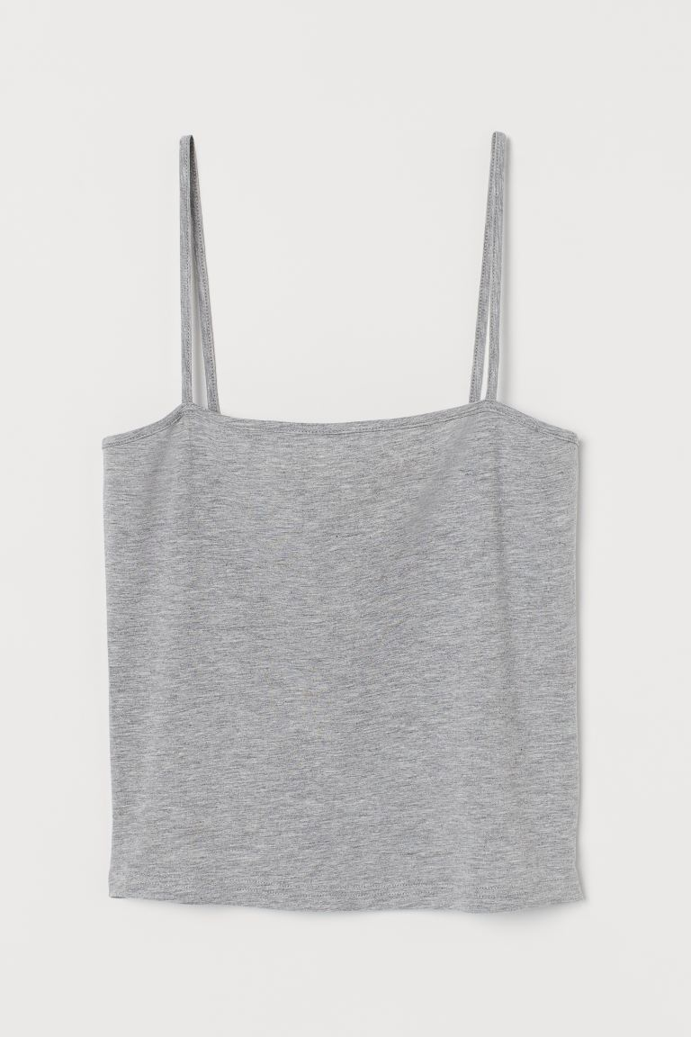 Cropped Jersey Camisole Top - Gray melange - Ladies | H&M US