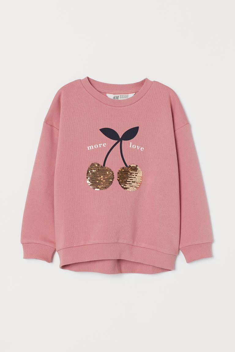 Sweatshirt with Decoration - Dusty rose/sequins - Kids | H&M US