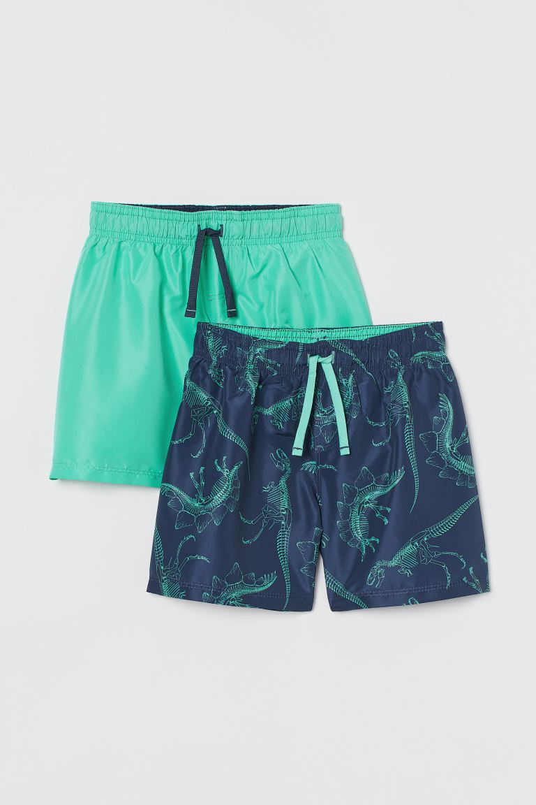 2-pack swim shorts - Turquoise/Dinosaur skeleton - Kids | H&M