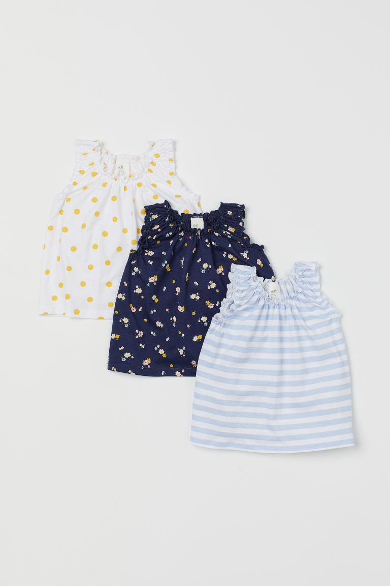 3-pack sleeveless tops - White/Yellow spotted - Kids | H&M