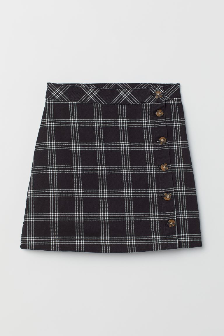 A-line Skirt - Black/checked - Ladies | H&M US