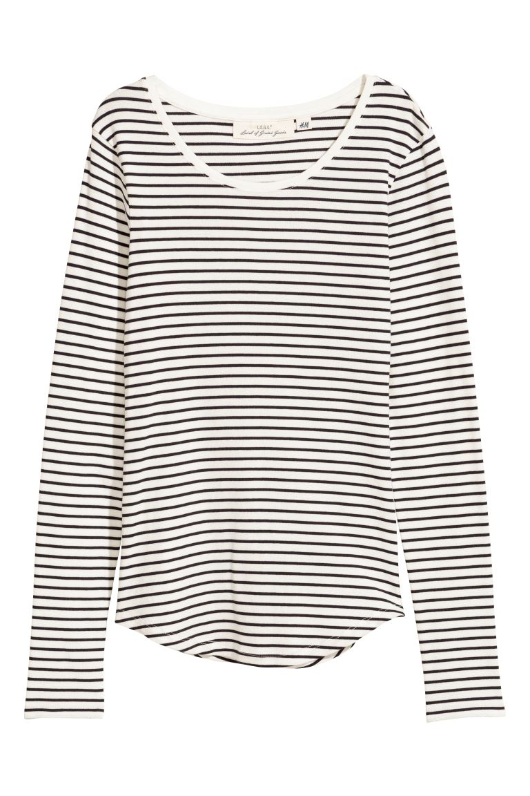 Long-sleeved jersey top - White/Black striped - Ladies | H&M
