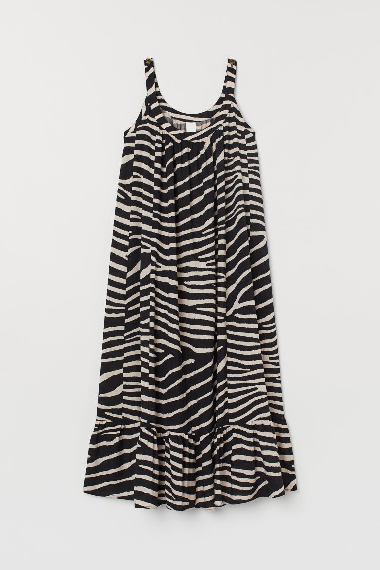 Long Ruffled Dress - Black/zebra print - Ladies | H&M US