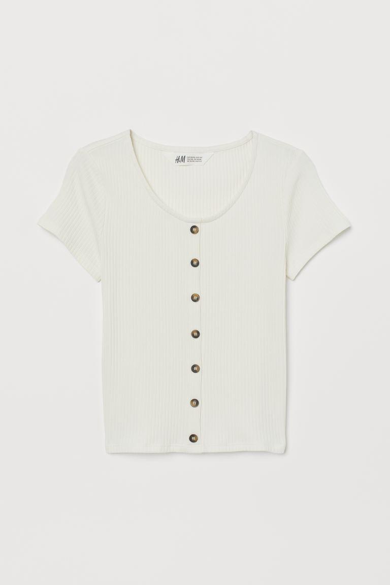 vânzare la cald online aici vândut în toată lumea Bluză reiată cu nasturi - Alb-natur - COPII | H&M RO