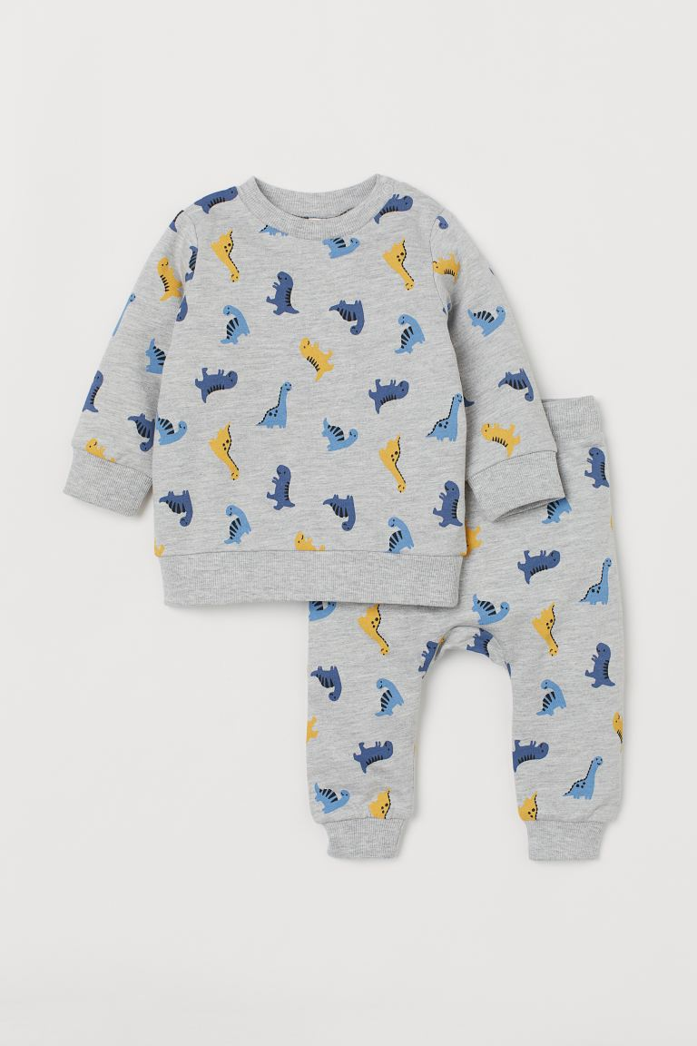 2-piece Cotton Set - Light gray melange/dinosaurs - Kids | H&M CA