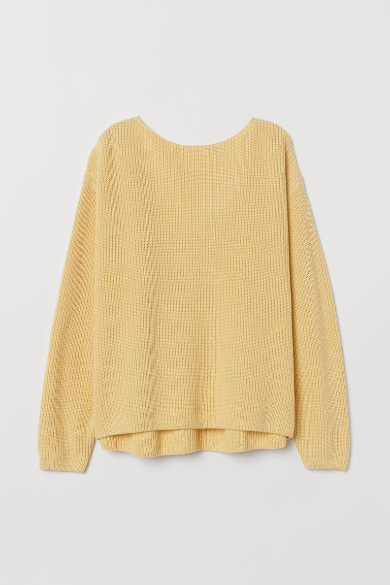 Knit Sweater with Lace - Yellow - Ladies | H&M US