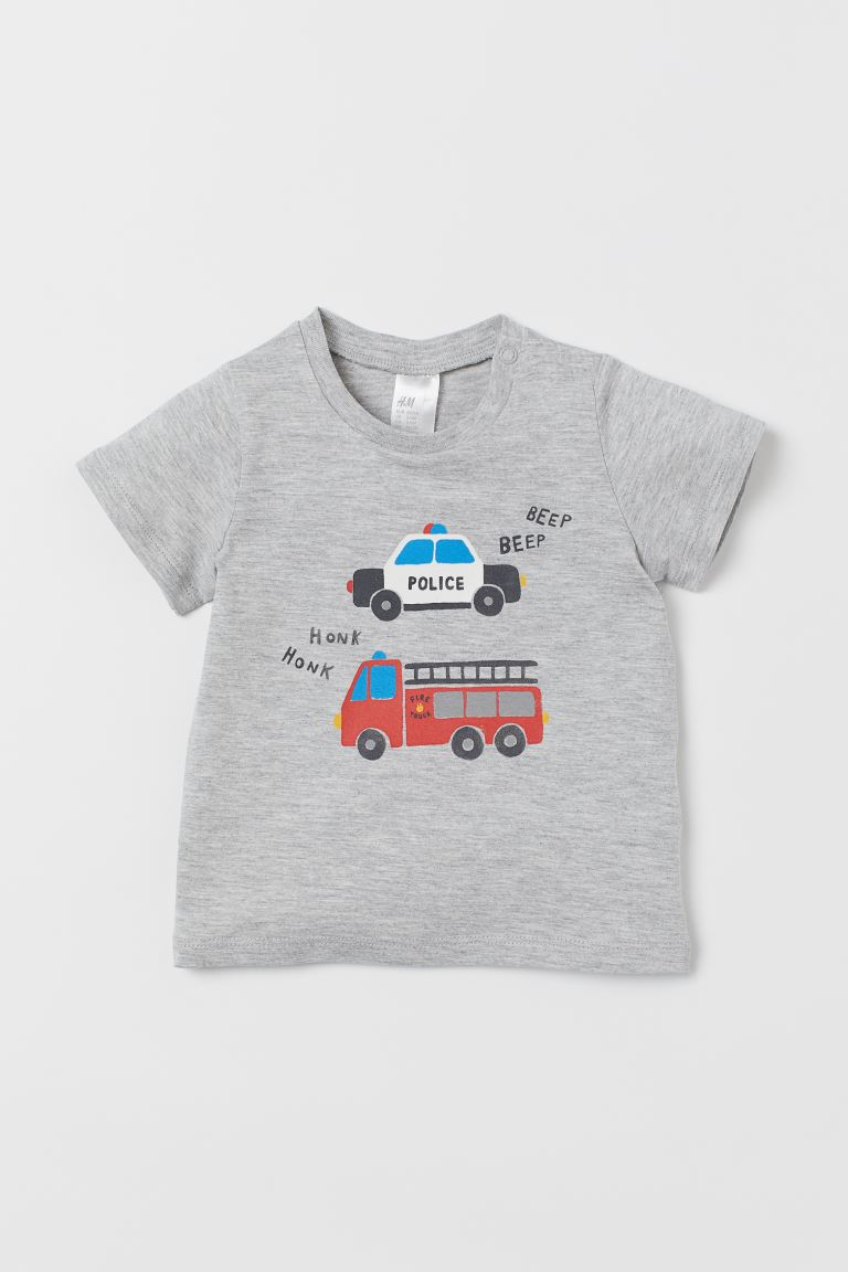 T-shirt with Printed Design - Gray melange/vehicles -  | H&M US