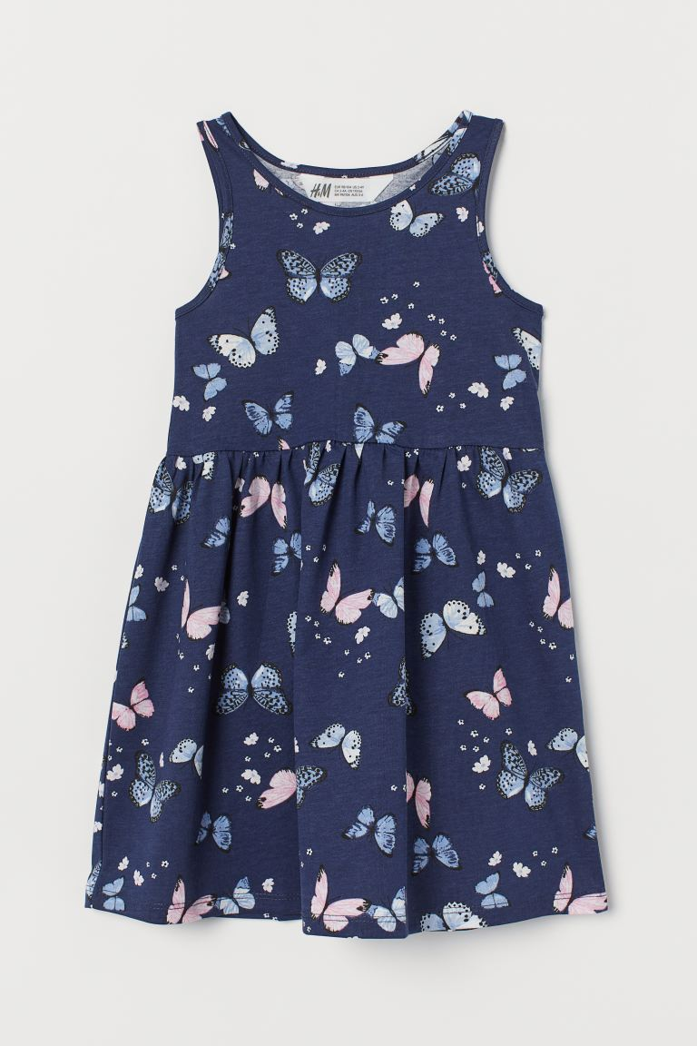 Patterned jersey dress - Dark blue/Butterflies - Kids | H&M GB