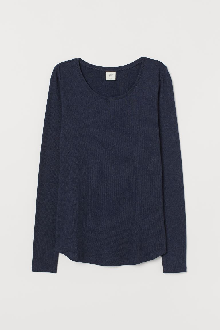 Long-sleeved jersey top - Dark blue marl - Ladies | H&M