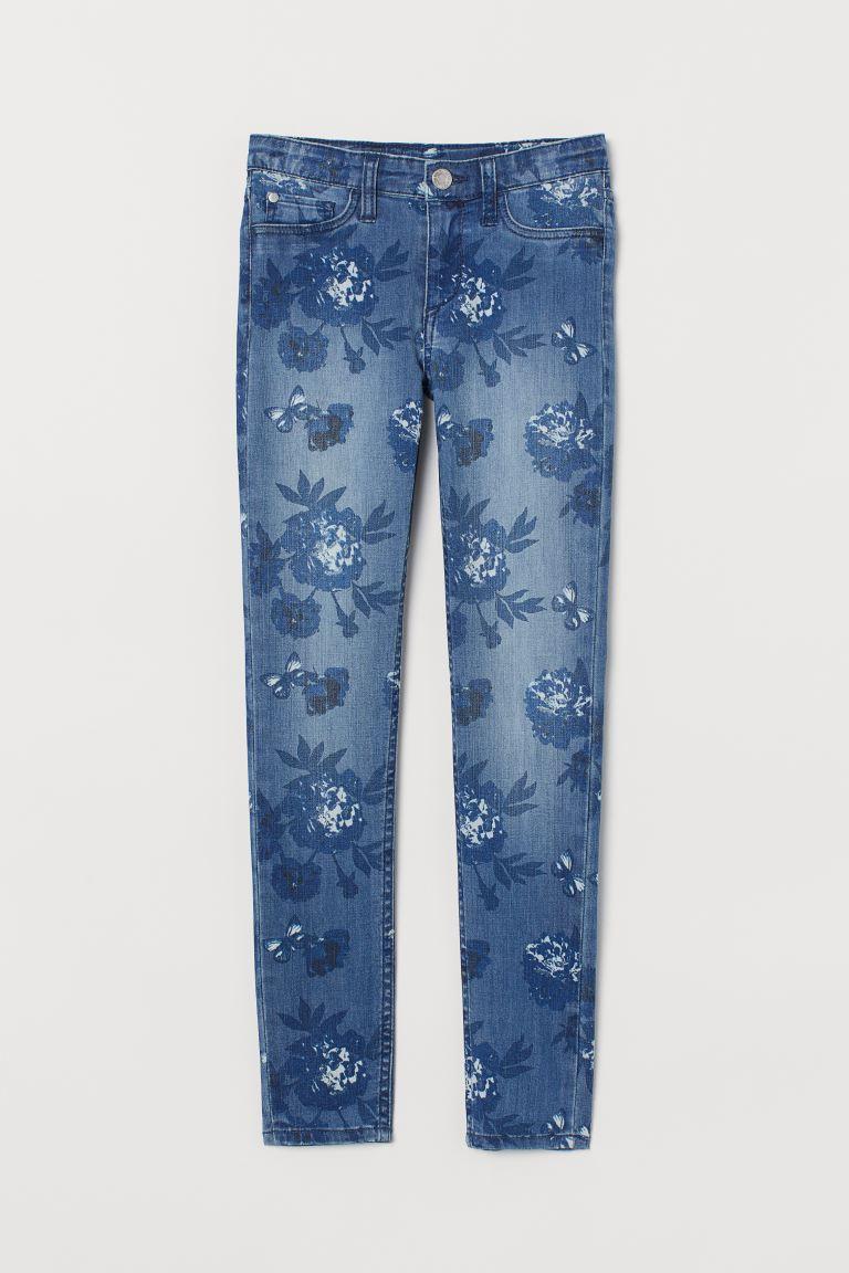 Skinny Fit Jeans - Denim blue/Floral - Kids | H&M GB
