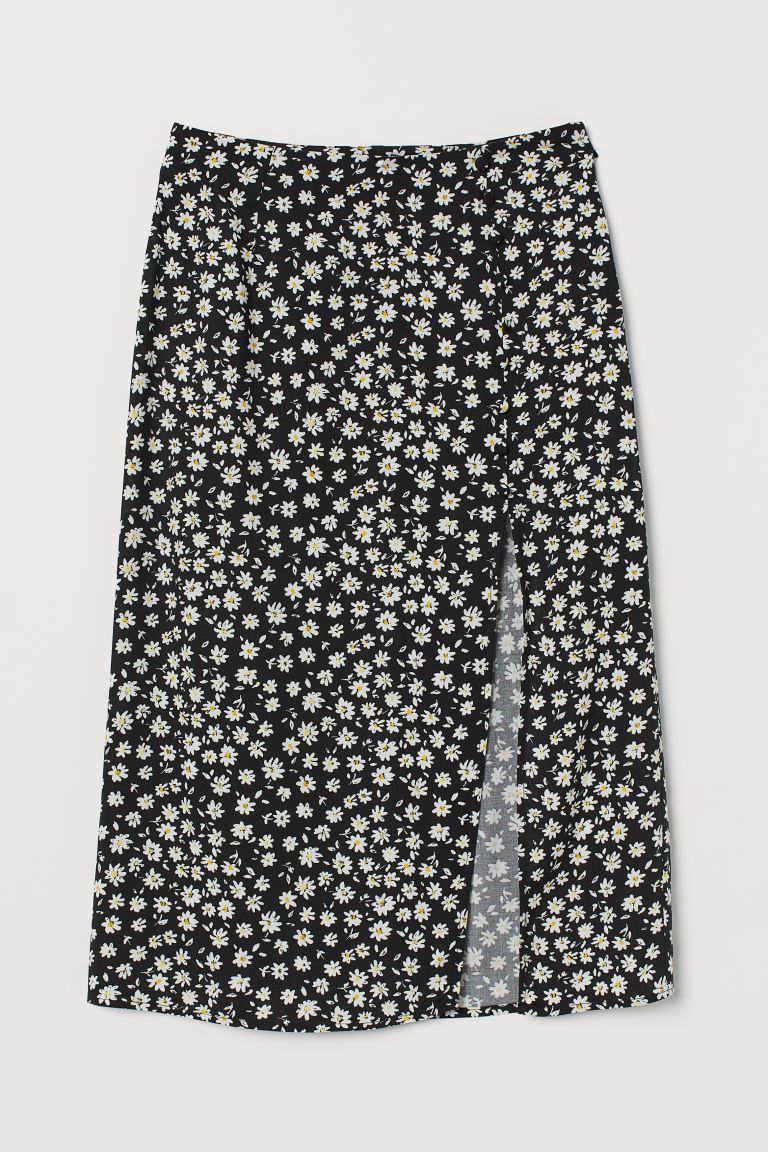 High-split skirt - Black/Floral - Ladies | H&M IE