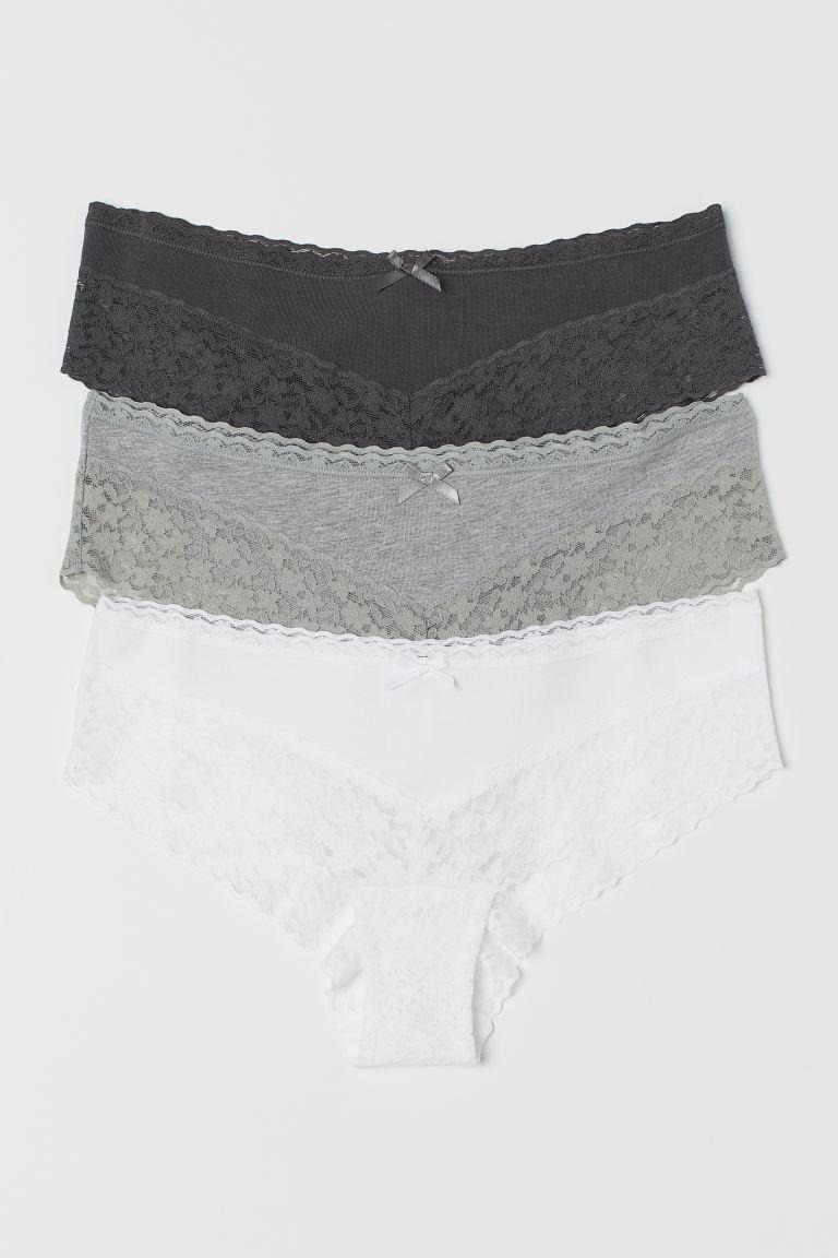 3-pack cotton hipster briefs - Dark grey - Ladies | H&M GB