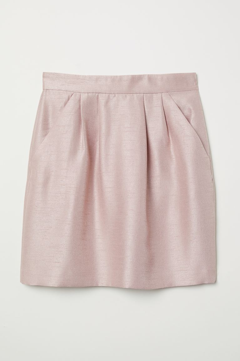 Textured-weave Skirt - Powder pink - Ladies | H&M US