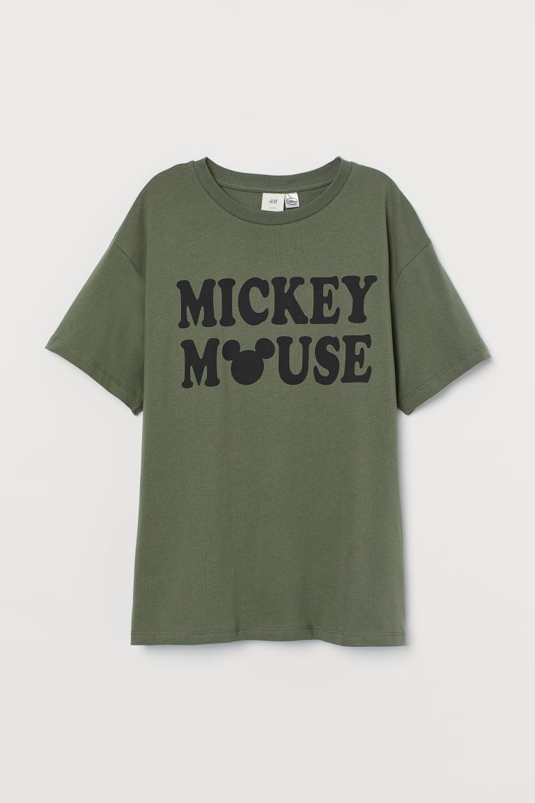 Oversized printed T-shirt - Dark khaki green/Mickey Mouse - Ladies | H&M