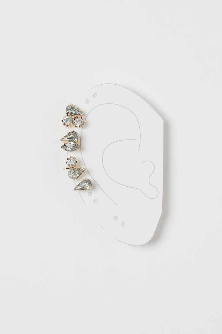 Rhinestone-detail ear cuff - Gold-coloured - Ladies | H&M