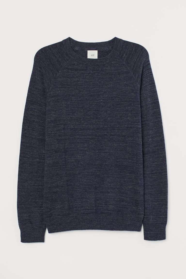 Cotton Raglan-sleeved Sweater - Dark blue melange - Men | H&M CA