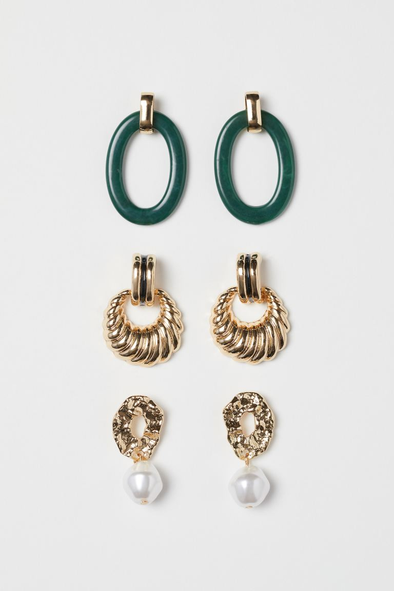 3 Pairs Earrings - Gold-colored/green - Ladies | H&M US