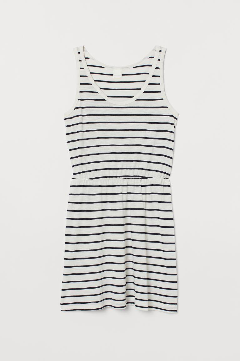 Modal-blend jersey dress - White/Black striped - Ladies | H&M GB