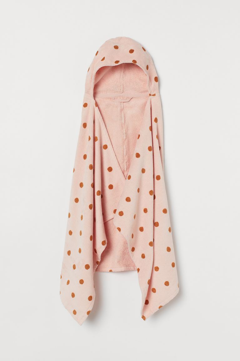Drap de bain à capuche - Rose clair/pois - Home All | H&M FR