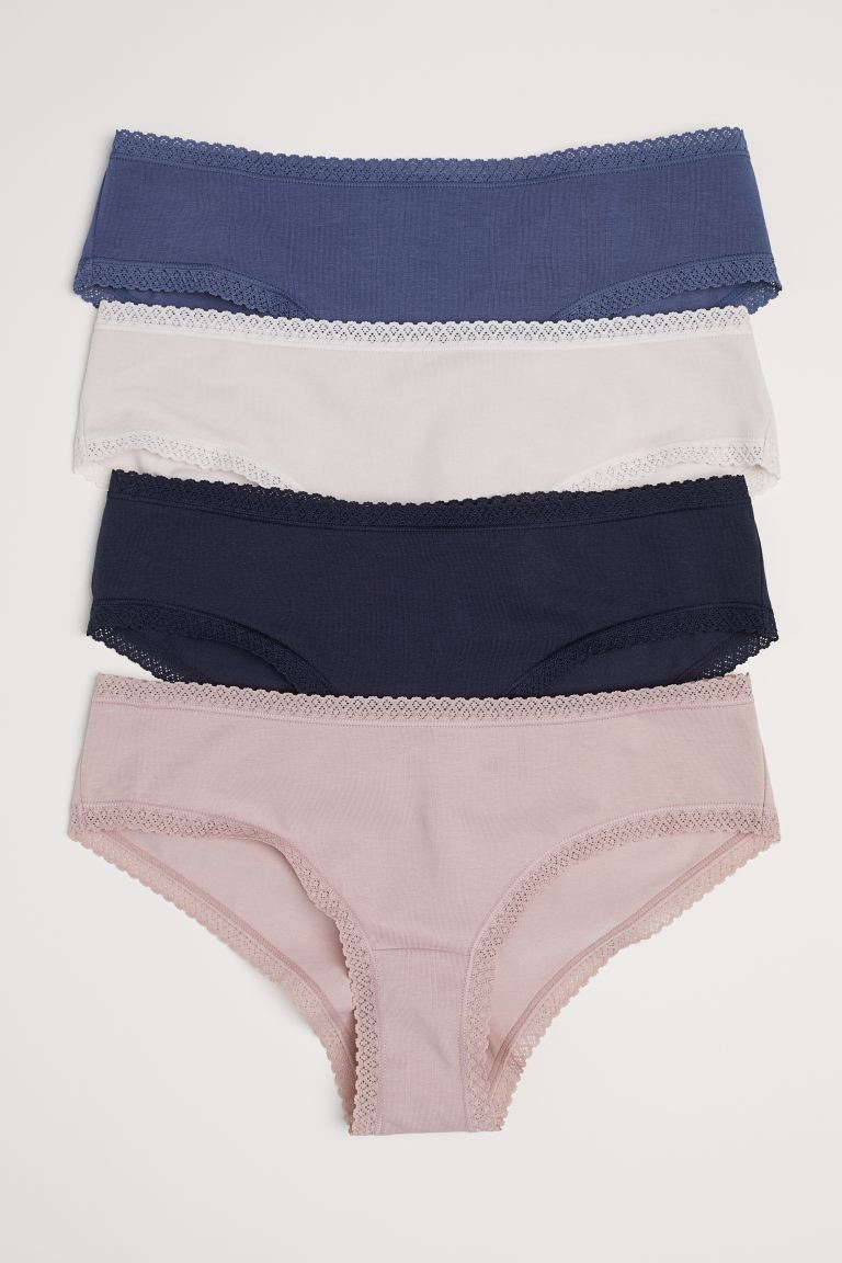 4-pack cotton hipster briefs - Dark blue/Beige - Ladies | H&M IN